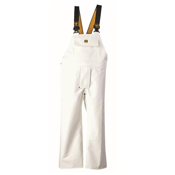 Heavy Duty Bib & Brace Trousers - Colour: White - Size 01) Small